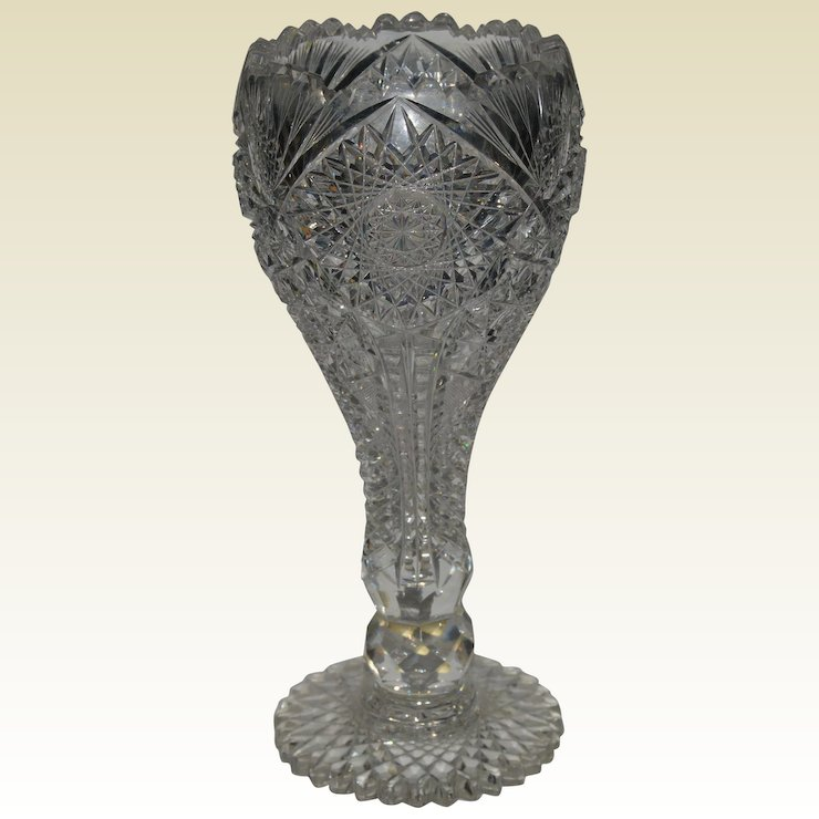 American Brilliant Period Cut Gl Chalice Vase : Hollin Gate ... on coins for sale, jugs for sale, pedestals for sale, earrings for sale, home decor for sale, glass for sale, candlesticks for sale, storage for sale, decorative teapots for sale, tiles for sale, glass vase sale, stationery for sale, spoons for sale, vintage bowls for sale, plants for sale, pewter dragons for sale, silver for sale, figurines for sale, statuary for sale, stencils for sale,