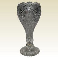 American Brilliant Period Cut Glass Chalice Vase