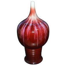 Large Vintage Ceramic Vase, Red-Glazed with Small-Mouth
