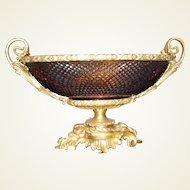 Doré Bronze & Amber Cut Crystal Bowl/ Centerpiece