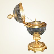 Cut Crystal and Hand Chased Doré Bronze Caviar Server