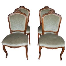 Set of 4 Hand Carved Petite Fruitwood Chairs