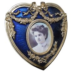 Heart Shaped Blue Enamel Picture Frame