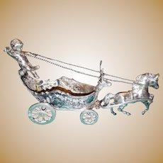 19th Century Coin Silver Cherub riding a horse drawn carriage