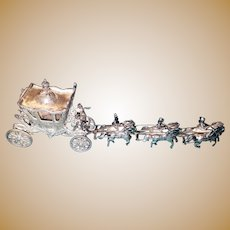 Exquisite Unique 800 Silver Coach pulled by 6 Horses