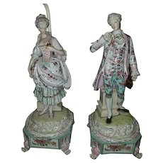 An Extremely Fine Quality Pair Meissen/Dresden styled Lamps