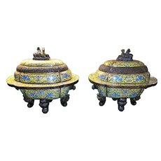 Pair of Colossal Sized Chinese Cloisonné Incense Burner's