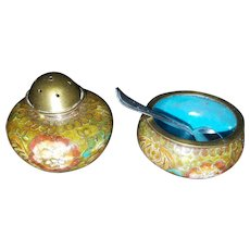 Exquisite Maiji Era Cloisonné Pepper and Open Salt w/Sterling Spoon