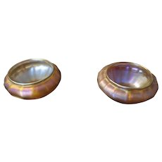 Pair of Iridescent Art Glass Salt Dips