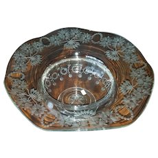 Signed Libbey Engraved Bowl
