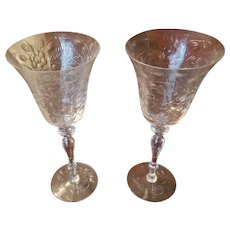 Pair of Outstanding Engraved Crystal Wine Glasses