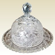Stunning American Brilliant Cut Glass Cheese Plate and Dome