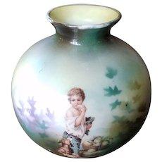 ON SALE RS Prussia Melon Eater Boy Salesman Sample Vase