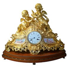 Magnificent French Dore Bronze and Porcelain Mantel Clock by H. Picard