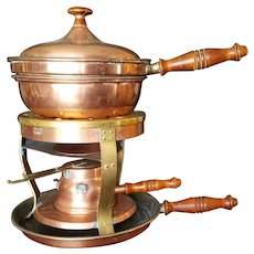 Bazar Francais 1950s Multi Use Copper and Brass Warmer, Chafing Dish, Crepe Pan
