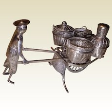 A Delightful Coin Silver Wheelbarrow 4 Vessel Cruet Set