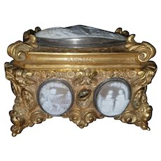 French 19th Century Museum Quality Bronze Casket Box with 7 Exquisitely Hand Carved Cameos