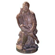 "Terracotta Sculpture ""A Tribute to Léon Laurent-Pichat"" by Charles Laurent-Daragon"