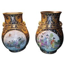 Large Pair of Exquisite Hand Thrown and Painted Chinese Palace Vases