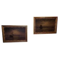 "Very Rare Pair of Exquisite 19th Century Painting ""Sail Boating by Moonlight"" by Edward Moran"