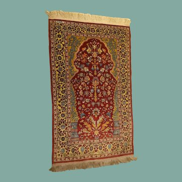 Magnificent and Extremely Artistic Small Size Vintage Turkish Hereke Silk Prayer Rug,