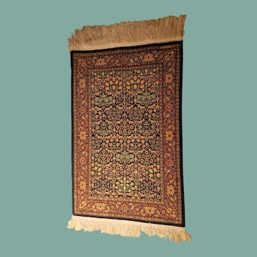 Magnificent and Extremely Artistic Small Size Vintage Turkish Hereke Silk Rug