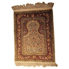 Magnificent and Extremely Artistic Small Size Vintage Turkish Hereke Silk Prayer Rug