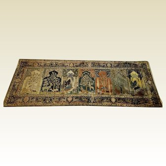 Magnificent and Extremely Rare Antique 7 Panel Turkish Silk on Silk Prayer Rug