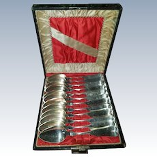 12 Coin Silver Spoons in Beautiful Presentation Case by George Tebbets