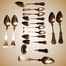 Exceptionally Fine Set of Fiddleback Coin Spoons & Ladle by Eugene Jaccard & Co. of St. Louis