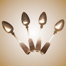 Four Delightful Coin Silver Tea Spoons by H. I. Sawyer