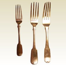 Three Exquisite 19th Century Sterling Forks made in Dublin Ireland