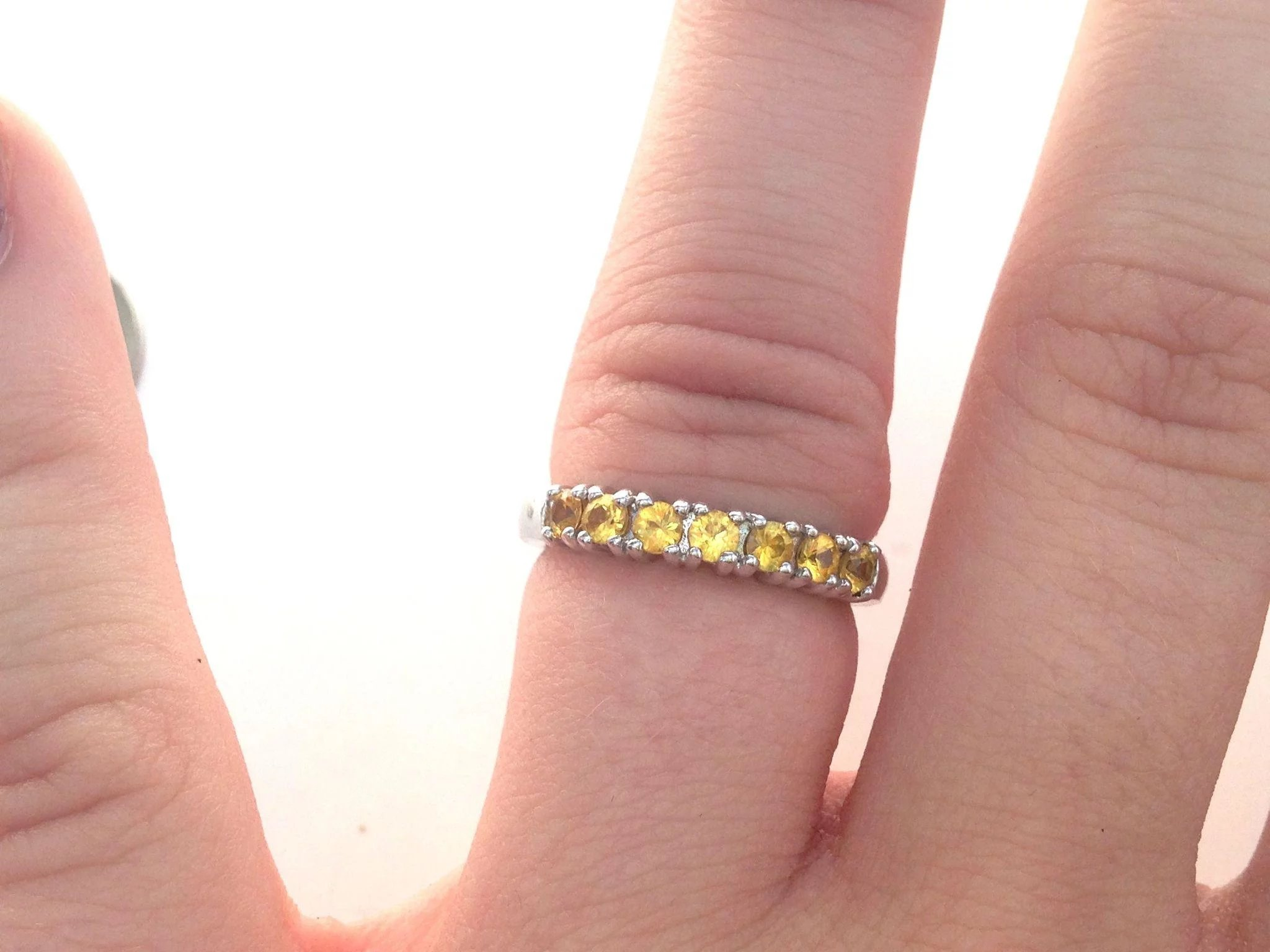 Vintage Anniversary/Wedding Band with Citrine and White Gold ...
