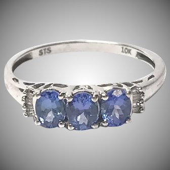 Vintage 10k White Gold 3 Stone Tanzanite Ring with Accent Diamonds