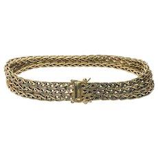 Vintage 18k Yellow Gold Triple Strand Square Wheat Chain Bracelet