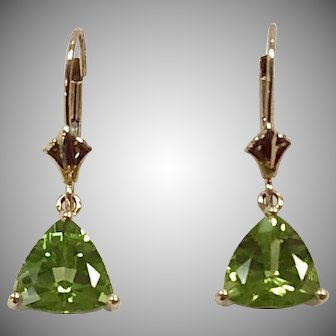 Trillion Peridot 3.5ct Dangle Earrings in 14K Yellow Gold