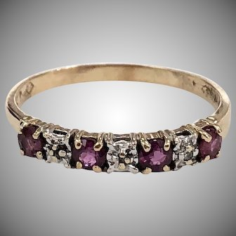 Vintage Ruby & Diamond Anniversary Ring Band in 10K Yellow Gold