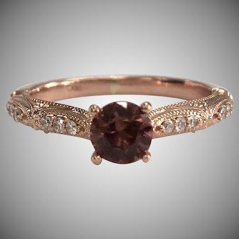 Diamond & Pink Zircon in 14K Rose Gold Engagement Ring Vintage Mounting