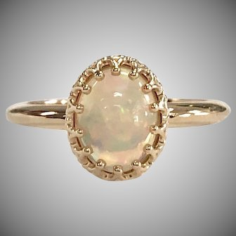 14K Yellow Gold solitaire crown ring with White Opal Cabachon