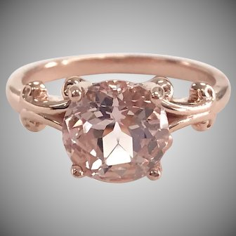 Round Morganite Solitaire in  14K Rose Gold Scroll Setting