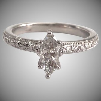14K White Gold Solitaire Engagement Ring with 0.6ct Marquise Diamond