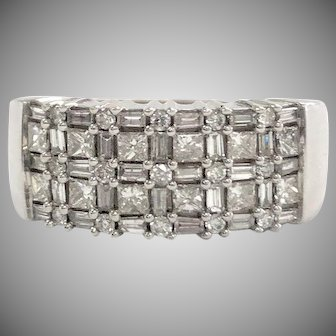 Band with Baguette, Round, and Square Diamonds in 14K White Gold