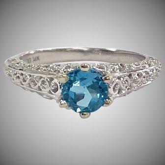 Round Blue Topaz in 14K White Gold Filigree Solitaire Ring