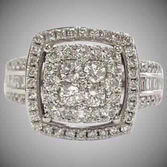 14K White Gold Diamond Cluster Halo Ring