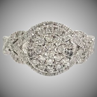 Diamond Cluster Halo Engagement Ring with accent diamonds in band