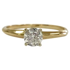 14K Yellow Gold .5ct Diamond Solitaire Engagement Ring
