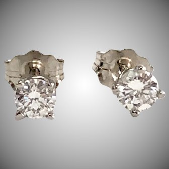 1/3ctw Round Diamond Stud Earrings in 14K White Gold in 4 prong basket
