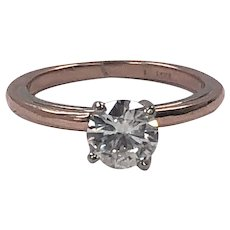 Moissanite Solitaire Ring in 14k White and Rose Gold