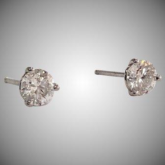 0.65ctw Round Diamond Stud Earrings in 3-Prong 14K White Gold Settings