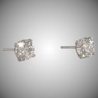 1.03CTW Round Diamond Stud Earrings in 14K White Gold 4 prong